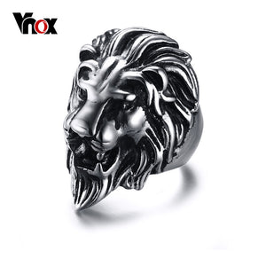 Men's Lion Head Ring Judah King | Large Male Stainless Steel Novelty Jewelry