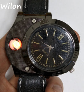 Rechargeable USB Lighter Watch Men's Quartz Wristwatch | Windproof Flameless Lighter Watch