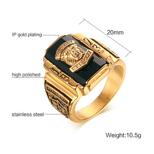 Lion Head Gold Ring for Men Judah King | Large Male Ring