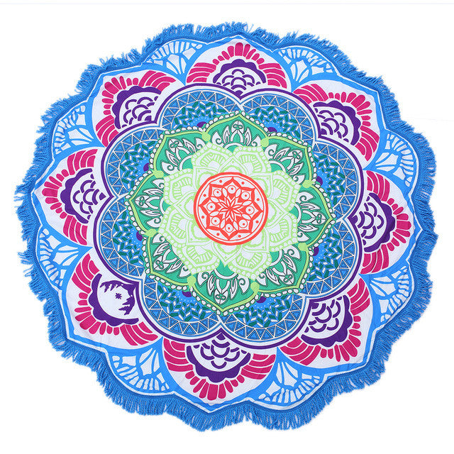 Beach Towel Tassel Indian Mandala Totem Lotus Printed Yoga Mat