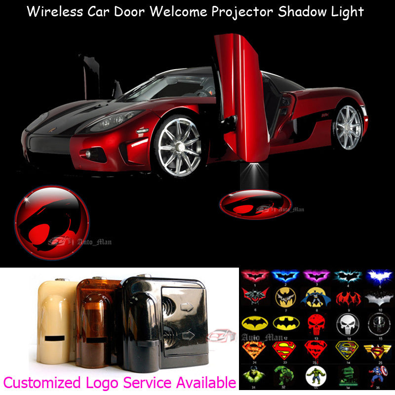 2X 3D Red Thundercats Logo Car Door Welcome Wireless Laser Projector | Ghost Shadow Puddle LED Light
