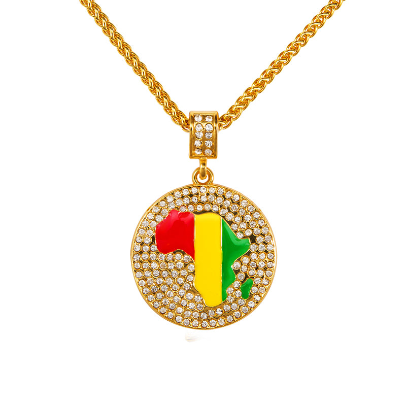 Rasta Map of Africa Alloy Necklaces for Men Women | Reggae Charm Necklace with Pendant (2 Sizes Available)