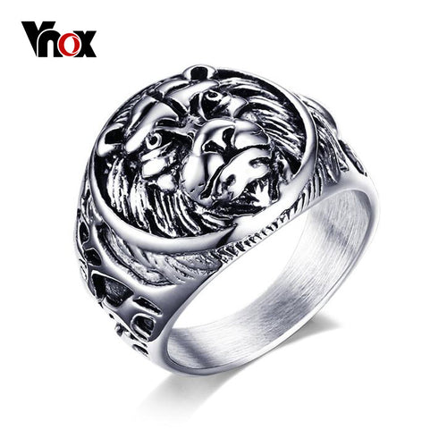 Men's Retro Style Animal Lion Head Ring | Reggae Biker Stainless Steel Novelty Jewelry