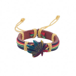 Genuine Leather Metal Maple Jamaica Unisex Men's & Lady's Love Fashion Bracelet (Lucky Leaf Bangle)
