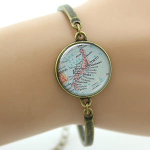 TAFREE Elegant Charm Vintage Map Bracelet | Custom Handcrafted Jewelry - Various Maps Available