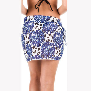Sarong Wrap Skirt | Reggae Beachwear -Blue Flowers Design