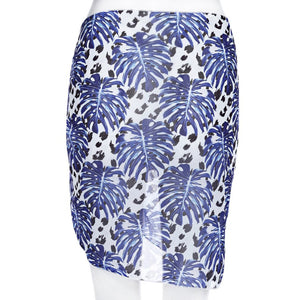 Chiffon Sarong Wrap Skirt | Reggae Beachwear- Blue Flowers