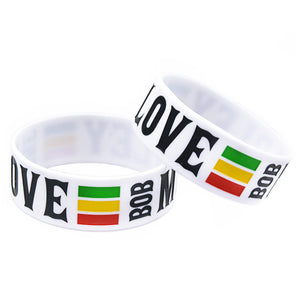 "LUKENI 1"" Wide One Love Bob Marley Silicone Wristband"