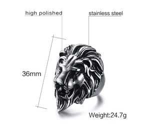 Lion Head Ring by VNOX