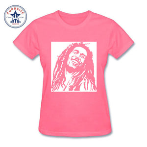 Reggae Star Bob Marley Cotton T-Shirts for Women Pink