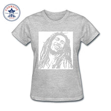 Bob Marley Rasta Cotton T-Shirts -Women Gray