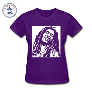 Reggae Star Bob Marley Cotton T-Shirts Women- Purple