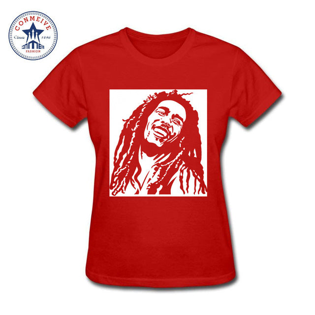 Reggae Star Bob Marley Cotton T-Shirts -Women Red