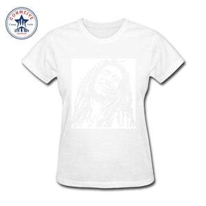 Reggae Star Bob Marley Rasta Cotton T-Shirts -Women (White)