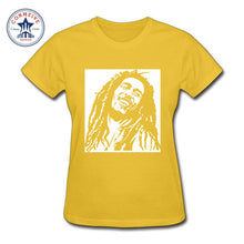 Reggae Star Bob Marley Cotton T-Shirts Women Yellow