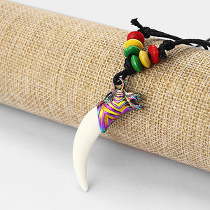 Faux Yak Bone Resin White Wolf Tooth/Teeth Wolf Head Pendant Necklace With Rasta Wood Beads | Surfer Boho Jewelery