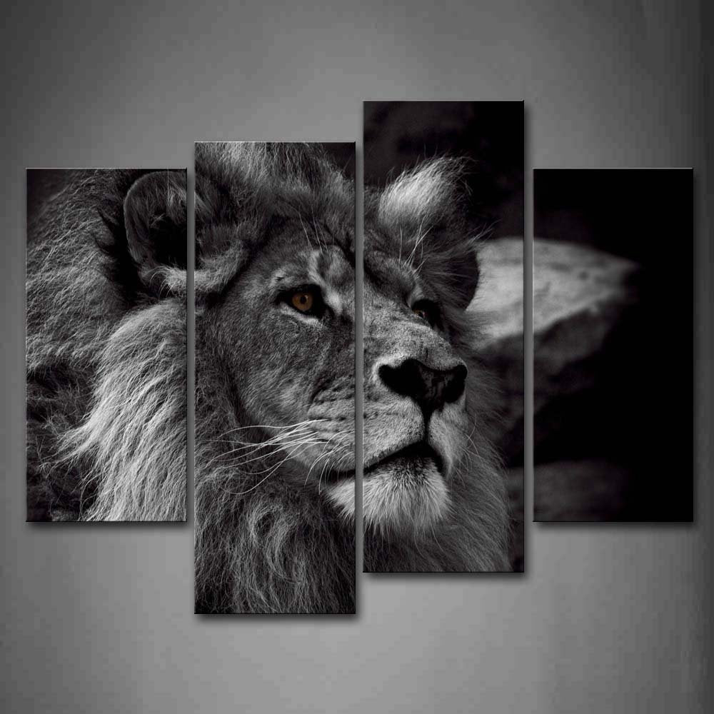 4 Panel Lion Head Portrait Wall Art