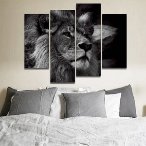 4 Panel Lion Head Portrait Wall Art II