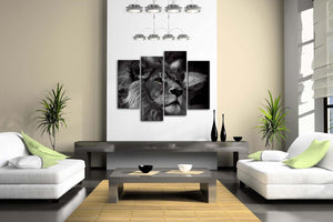 4 Panel Lion Head Portrait Wall Art Pain -Large