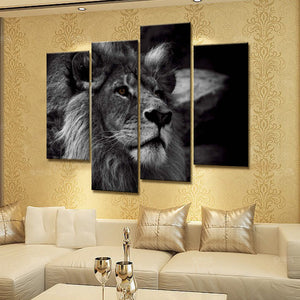 4 Panel Lion Head Portrait Wall Art Painting