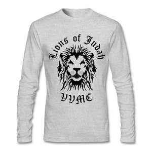 Lion Of Judah Full Sleeve T-Shirt- Gray