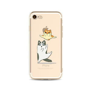 Apple iPhone Soft Silicone Transparent Phone Case | Cute Cat Rabbit Husky Phone Capa Case
