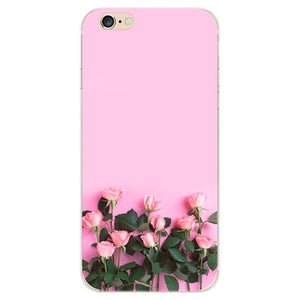For iPhone 6 6s Plus Phone Case Elegant Beautiful Flowers Painting Soft TPU Cases