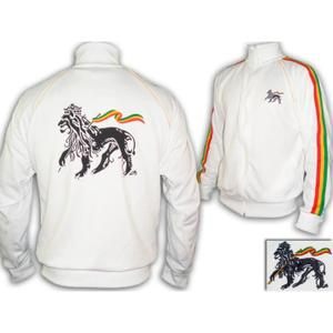 Rastafari Jah Star Conquering Lion of Judah Rasta Tracksuit -White