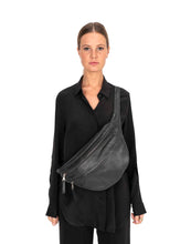 Oversized leather belt bag FRIDA XL | Black