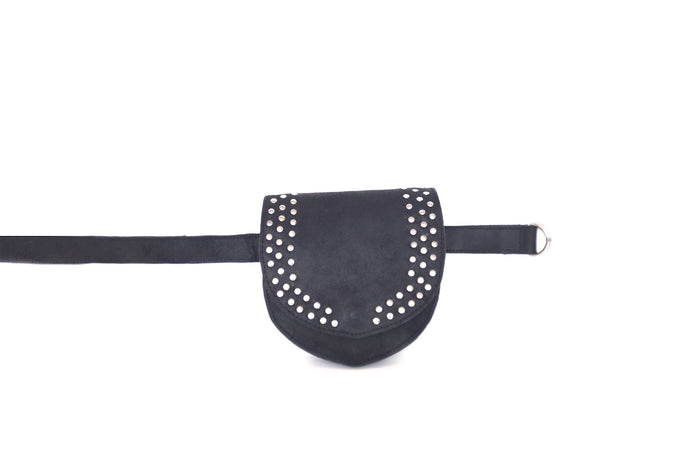 Festival metallic studs leather belt bag and purse ALANIS | Black