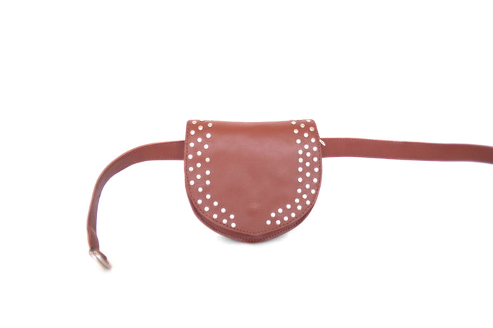 Festival metallic studs leather belt bag and purse ALANIS | Camel