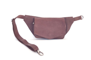 Stylish leather belt bag MUNA | Chocolate