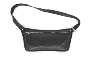 Oversized Flat leather belt bag ONA XL | Black