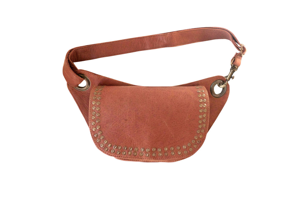 Fashion belt bag LENA with metallic studs | Camel