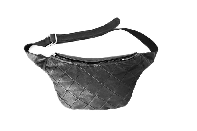 Designer leather belt bag MILA | Black