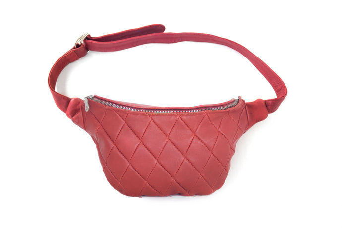 Designer leather belt bag MILA | Red