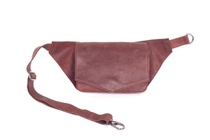 BAGSU design leather belt bag MUNA camel - front view