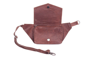 BAGSU design leather belt bag MUNA camel - open view