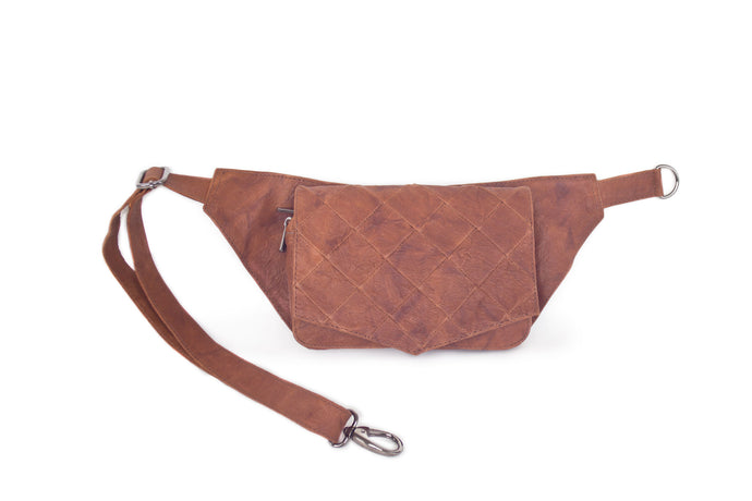 BAGSU design leather belt bag POLA camel - front view