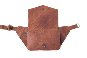 BAGSU design leather belt bag POLA camel - open view