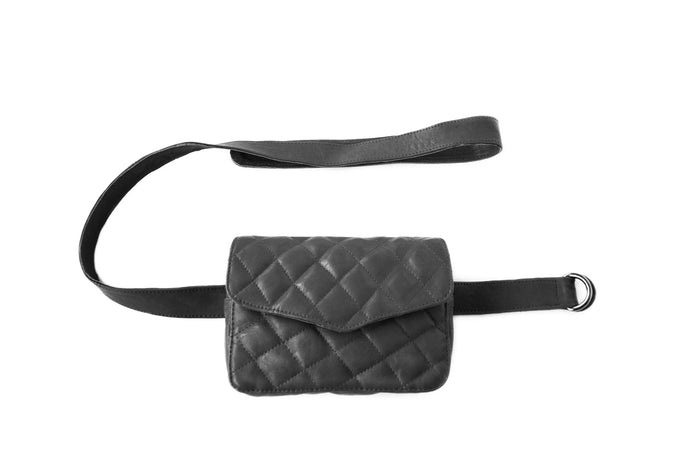 BAGSU design leather belt bag RITA black - front view