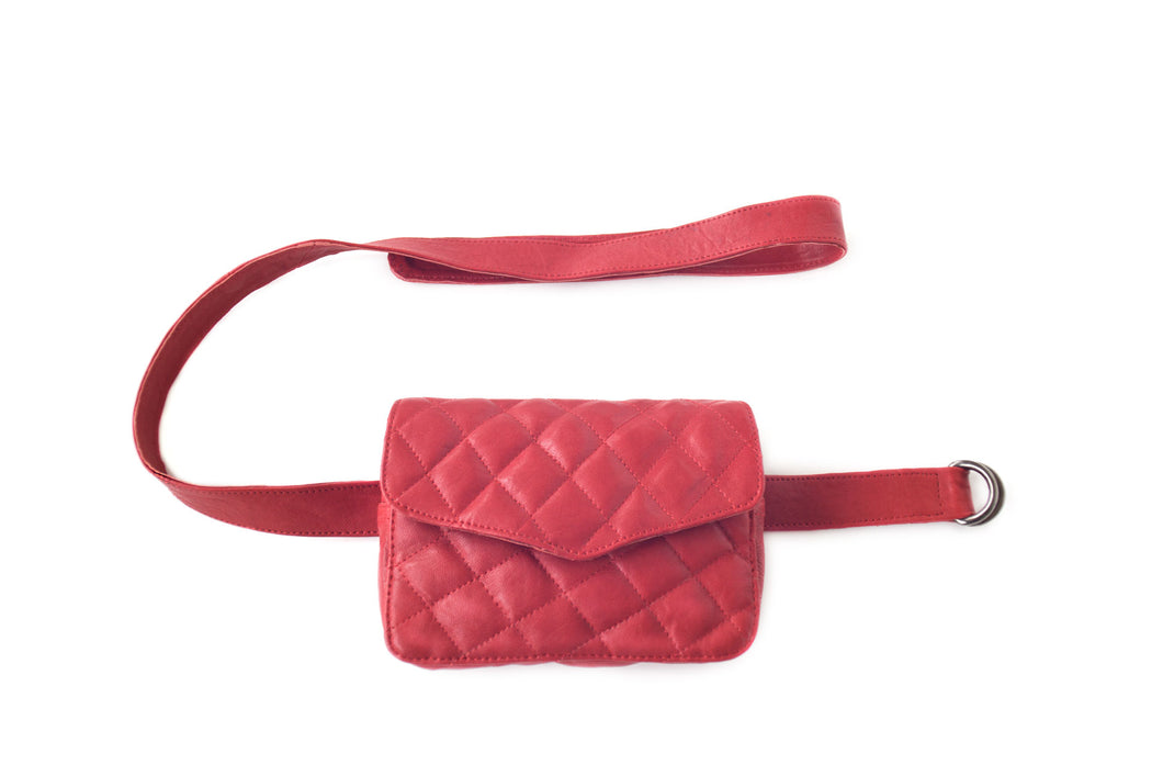 Leather belt bag and chain purse RITA | Red