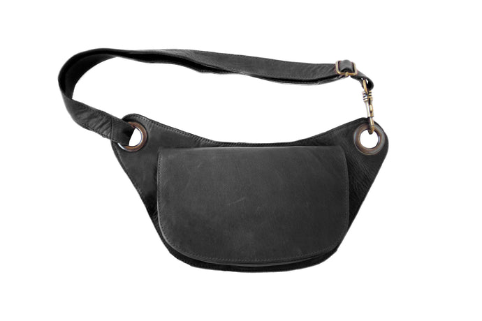 Designer leather belt bag VERA | Black