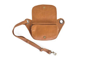 Designer leather belt bag VERA | Camel
