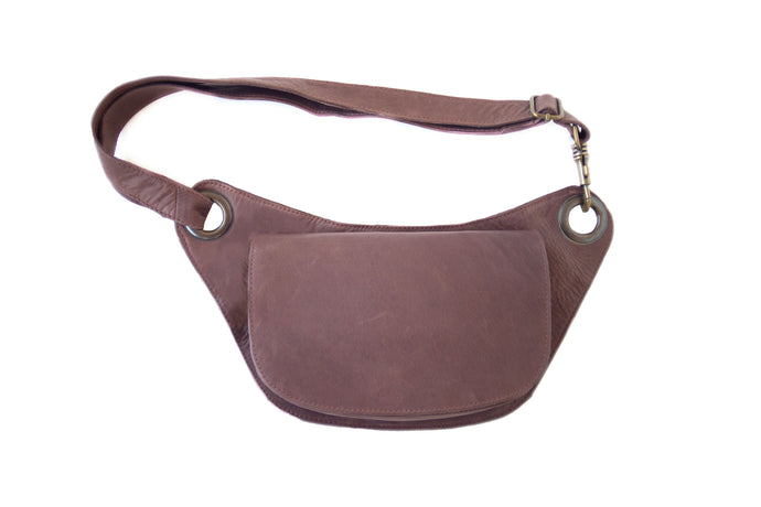 Designer leather belt bag VERA | Chocolate
