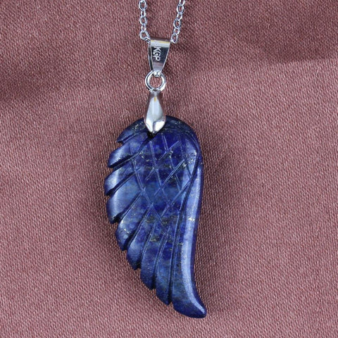 Silver Plated Lapis Lazuli Wing Of Angel Talisman - AwakenZone