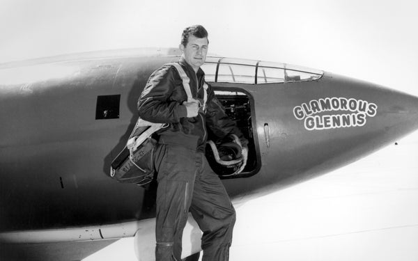 Chuck Yeager next to experimental aircraft Bell X-1 #1 Glamorous Glennis