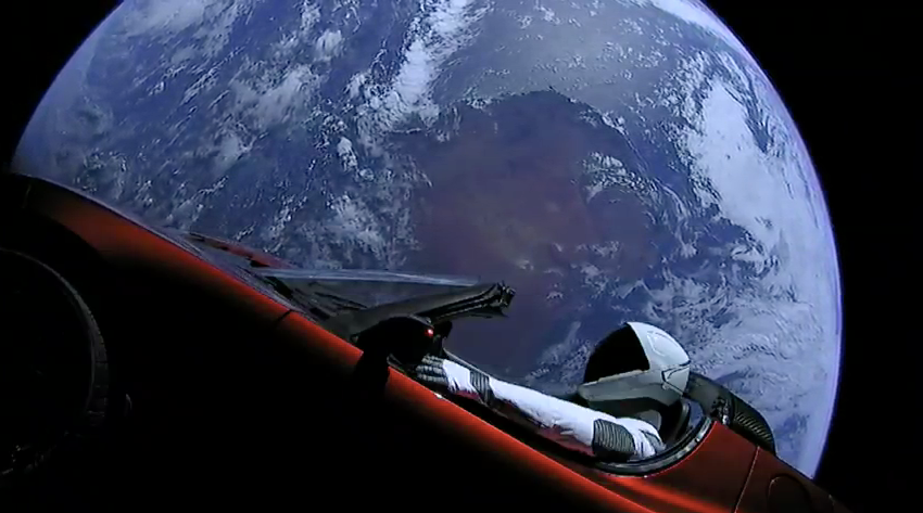 falcon heavy starman in tesla roadstar