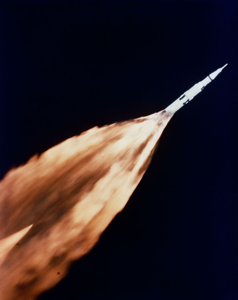 apollo 6 soaring through the sky