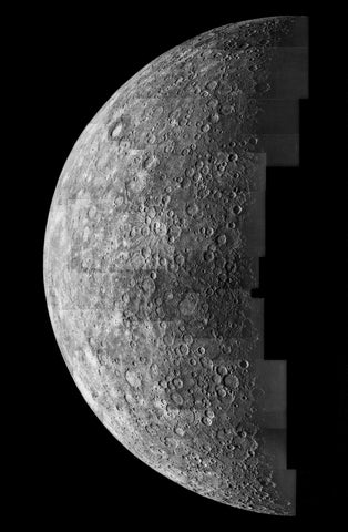 mariner 10 photo of mercury inbound view